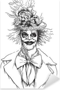 Sticker Pixerstick Portrait d'un mort-vivant (zombie, clown effrayant ...), dessin à la main