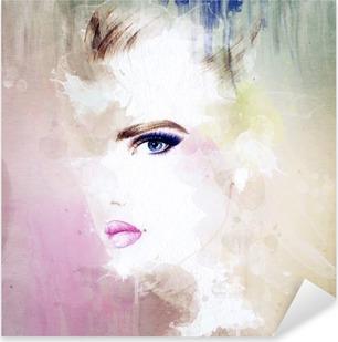Sticker Pixerstick Portrait de femme. aquarelle abstraite. mode arrière-plan