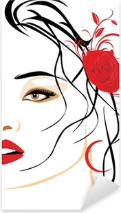 Portrait of beautiful woman with red rose in hair Pixerstick Sticker