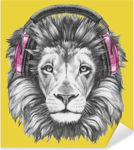 Portrait of Lion with headphones. Hand drawn illustration. Pixerstick Sticker