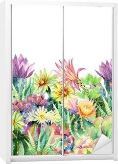 Sticker pour Armoire Aquarelle floraison cactus fond