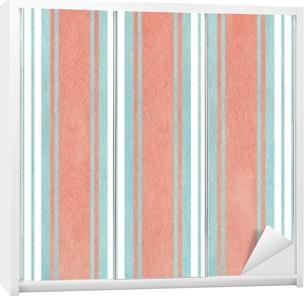Sticker pour armoire Aquarelle fond rayé bleu et rose.
