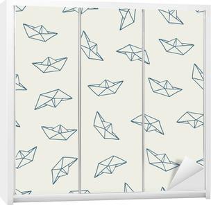 Sticker pour armoire Bateau de papier seamless