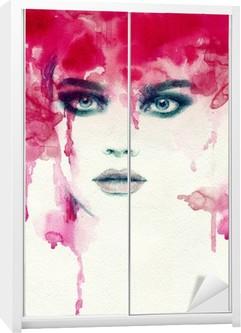 Sticker pour Armoire Belle femme. illustration d'aquarelle