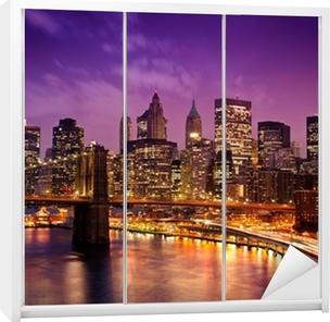 Sticker pour Armoire Brooklyn Bridge surplombant Manhattan