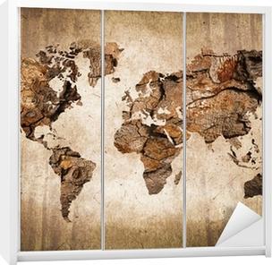 Sticker pour Armoire Carte du monde vintage en bois