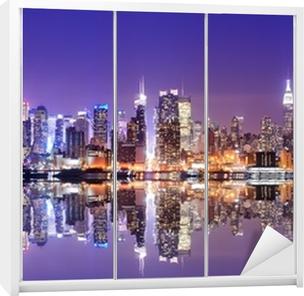 Sticker pour Armoire Manhattan Skyline avec réflexions