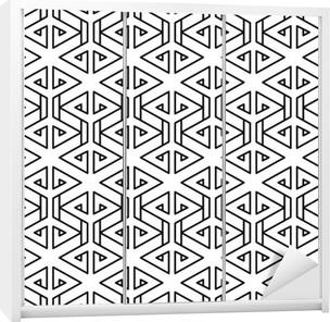 Sticker pour armoire Motif oreiller de mode abstrait géométrique hippie noir et blanc