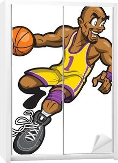 Sticker pour armoire Noir joueur de basket