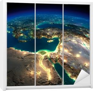 Sticker pour armoire Terre nuit. Afrique et Moyen-Orient