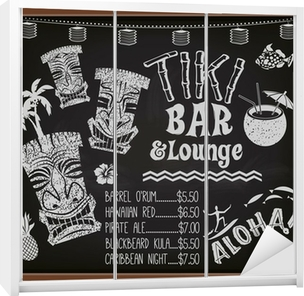 Sticker pour armoire Tiki Bar and Lounge Tableau Cocktail Menu