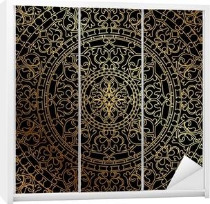 Sticker pour armoire Vector fond noir avec ornement oriental or