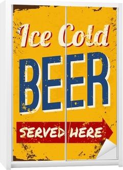 Sticker pour armoire Vintage Beer Plaque en métal