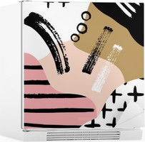 Sticker pour Frigo Composition abstraite scandinave en noir, blanc et rose pastel.