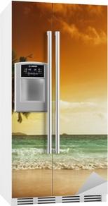 Sticker pour frigo Coucher de soleil sur la plage de la mer des Caraïbes