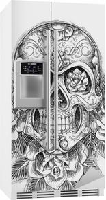 Sticker pour frigo Crâne Sketchy avec des roses