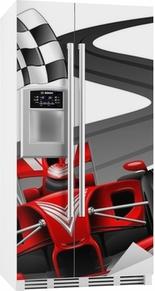 Sticker pour frigo Formule 1 voiture rouge sur Race Track