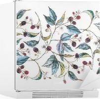 Sticker pour Frigo Hand-drawn aquarelle seamless ornament avec des motifs naturels: branches mûres, les feuilles et les baies. illustration décorative répétée, frontière avec les baies et les feuilles