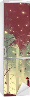 Sticker pour Frigo Homme debout dans la belle forêt avec la chute des feuilles, illustration peinture
