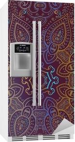 Sticker pour frigo Mandala. Motif décoratif indien.