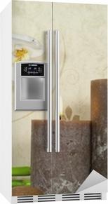 Sticker pour frigo Orchidée blanche et de bambou avec des bougies et des pierres