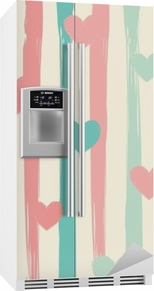 Sticker pour frigo Rayures pastel et coeurs. modèle vectorielle continue.