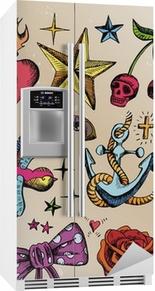 Sticker pour frigo Rockabilly tatouage Vorlagen farbig