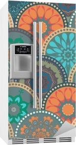 Sticker pour frigo Seamless cadre de motif abstrait des cercles de couleur à la mode de tuiles de fleurs florales. Pour papier peint, surface textures, textile. Design Été-Automne. L'Inde, le style ethnique Islam. Vert, orange, bleu. vecteur