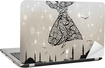 Sticker pour ordinateur portable Calligraphie derviche et mosquées istanbul
