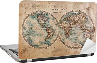 Sticker pour ordinateur portable Carte de Vieux Monde dans les hémisphères