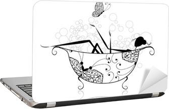 Sticker pour ordinateur portable Femme dans la salle avec de la mousse pour votre conception