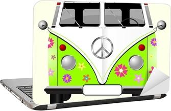 513ae059d8e14d Poster en cadre Fleuri hippie van isolé sur fond jaune pâle • Pixers® -  Nous vivons pour changer