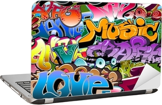 Sticker pour Ordinateur Portable Graffiti de fond sans soudure. Art Hip-hop