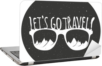 6764f8e059aadb Sticker pour ordinateur portable Main affiche de la typographie de style  dessiné avec des lunettes de soleil, des montagnes et devis.