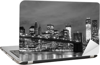 Sticker pour Ordinateur Portable Pont de Brooklyn et Manhattan Skyline At Night, New York City
