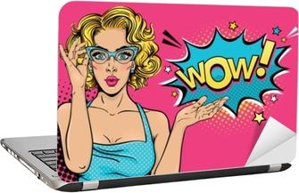Papier peint Wow visage féminin. sexy surprise jeune femme à lunettes avec  bouche ouverte et bulle de cheveux bouclés et blonde. vecteur fond clair  dans un ... 1f2f58e5457