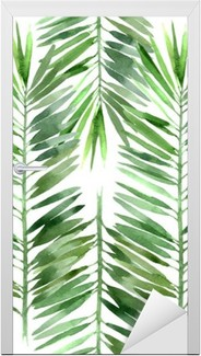 Sticker pour Porte Aquarelle palme feuille d'arbre transparente
