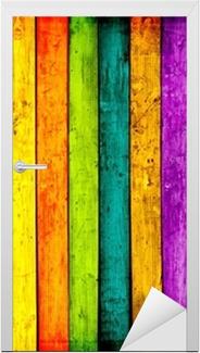 Sticker pour porte Colorful bois planches de fond