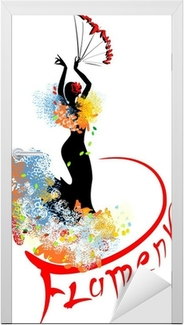 Sticker pour porte Danseuse de flamenco avec ventilateur