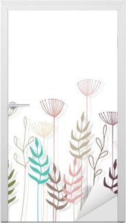 Sticker pour Porte Décorations en fleur au fond