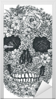 Sticker pour Porte Fleur Vecteur de crâne