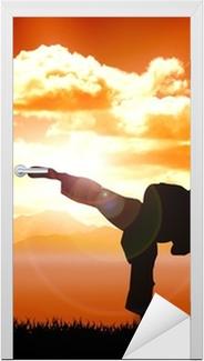 Sticker pour porte Illustration de formation de karaté