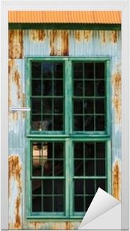 Sticker pour porte Mur en tôle ondulée avec fenêtres et rouille