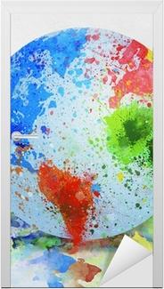 Sticker pour porte Peinture globe