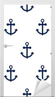 Sticker pour Porte Seamless vector pattern avec des ancres nautiques. thème de la mer ancre répétition bleu fond blanc foncé simple.