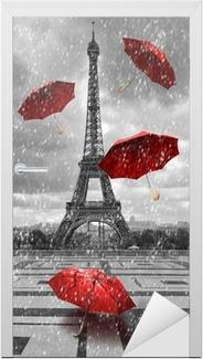 Sticker pour porte Tour Eiffel avec des parapluies volants.