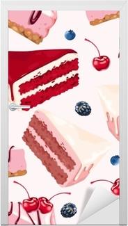 Sticker pour porte Vecteur de fond sans couture avec des gâteaux