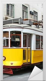 Sticker pour porte Vieux jaune tram de Lisbonne, Portugal