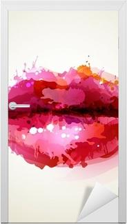Sticker pour Porte Womans belles lèvres formées par des taches abstraites