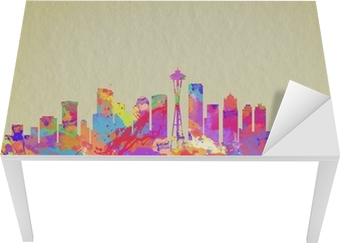 Sticker pour table et bureau Aquarelle impression d'art de la ligne d'horizon de Seattle États-Unis